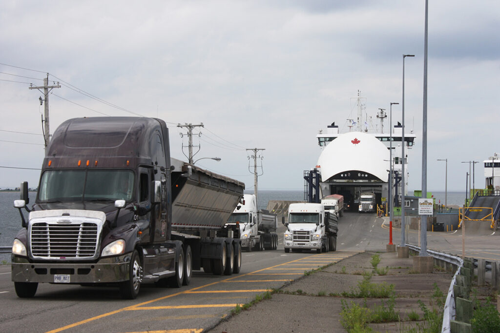 Trucks discharging from MV Confederation at Caribou, NS. 29 June 2020 (Photo by Rick Grant)