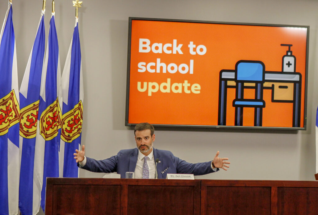 Zach Churchill, Nova Scotia's Minister for Education and Early Childhood Development, Back to school update, 2 September 2020.