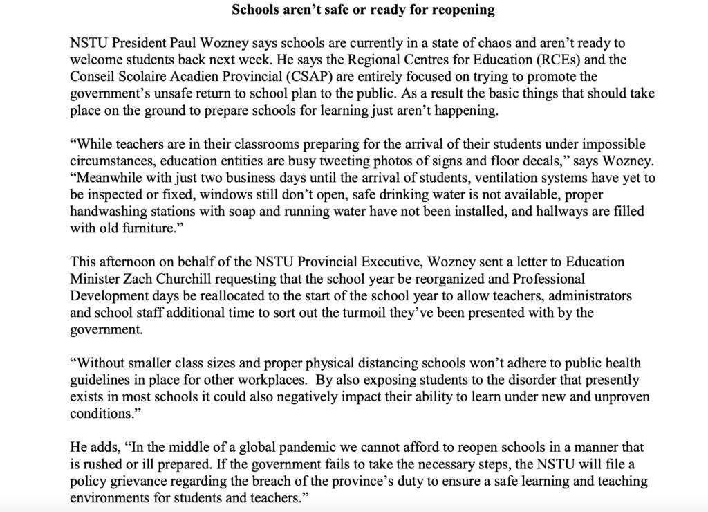 NSTU press release