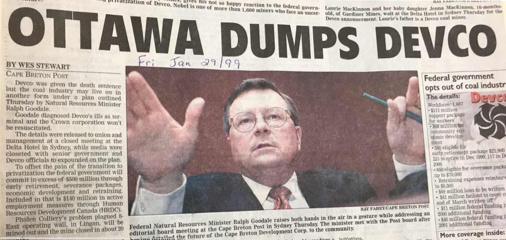 Ottawa Dumps Devco, CB Post headline, 29 Jan 1999