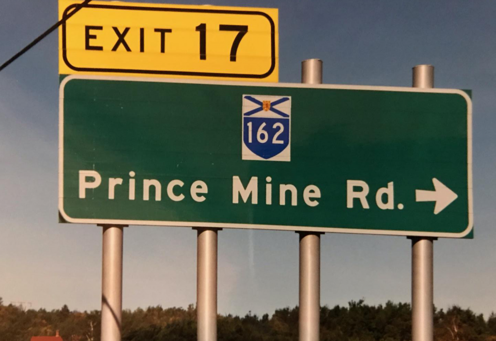 Prince Mine Road highway sign