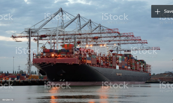 Stock photo of container ship and crane