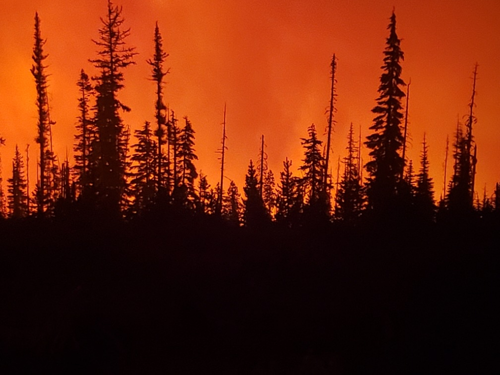Fire in the Valley below at dusk. Photo by Vernon Wolf.