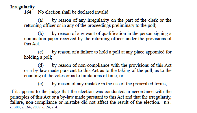 Clause 164 NS Municipal Elections Act