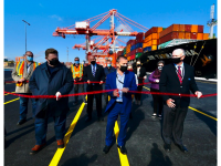 Ribbon-cutting ceremony for Port of Halifax berth extension, 23 October 2020. HPA CEO Allan Gray is front row, center. (HPA photo)