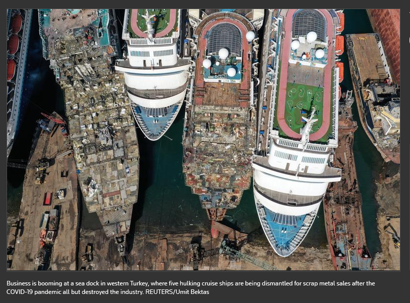 Five cruise ships being scrapped in Turkey.
