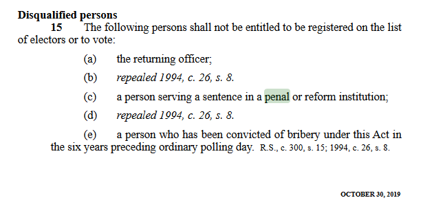 Disqualified persons clause, NS Municipal Elections Act