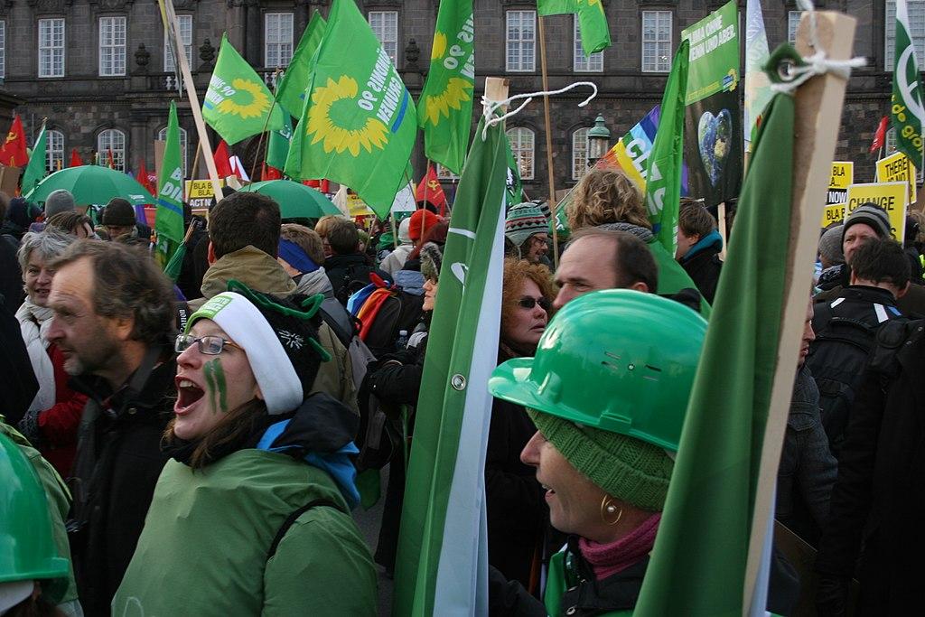 German Greens (Die Gruenen) at the climate summit demonstration in Copenhagen on 12 December 2009.
