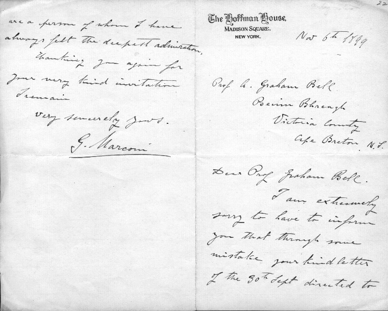 Letter from Guglielmo Marconi to Alexander Graham Bell, 6 November 1899