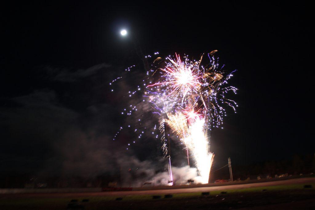 Halloween fireworks under the Blue Moon, Sydney Speedway