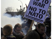 French police fire teargas at anti-NATO protestors in Strasbourg in April 2009, ahead of a summit celebrating the 60th anniversary of the military alliance. (Photo by