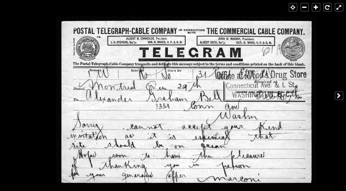 Telegram from Marconi to Graham Bell December 20