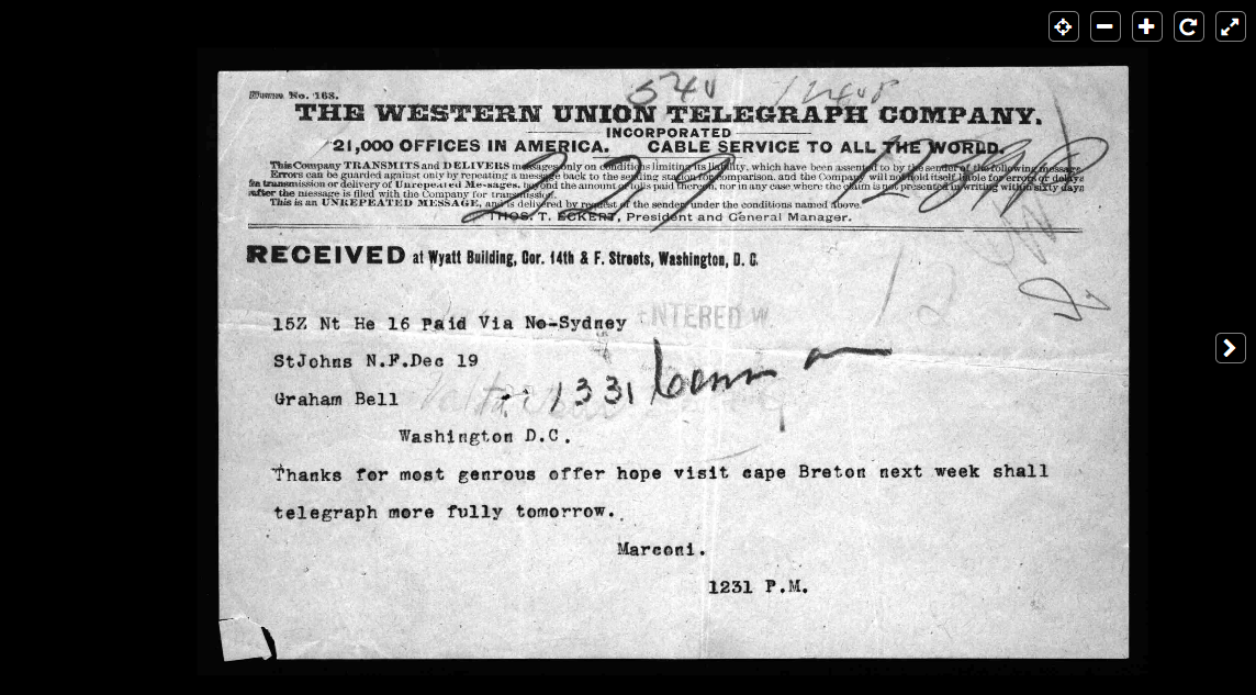 Telegram from Marconi to Graham Bell