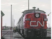 CN train in Moncton, NB, 1971. (Photo by Marty Bernard from U.S.A., Public domain, via Wikimedia Commons)