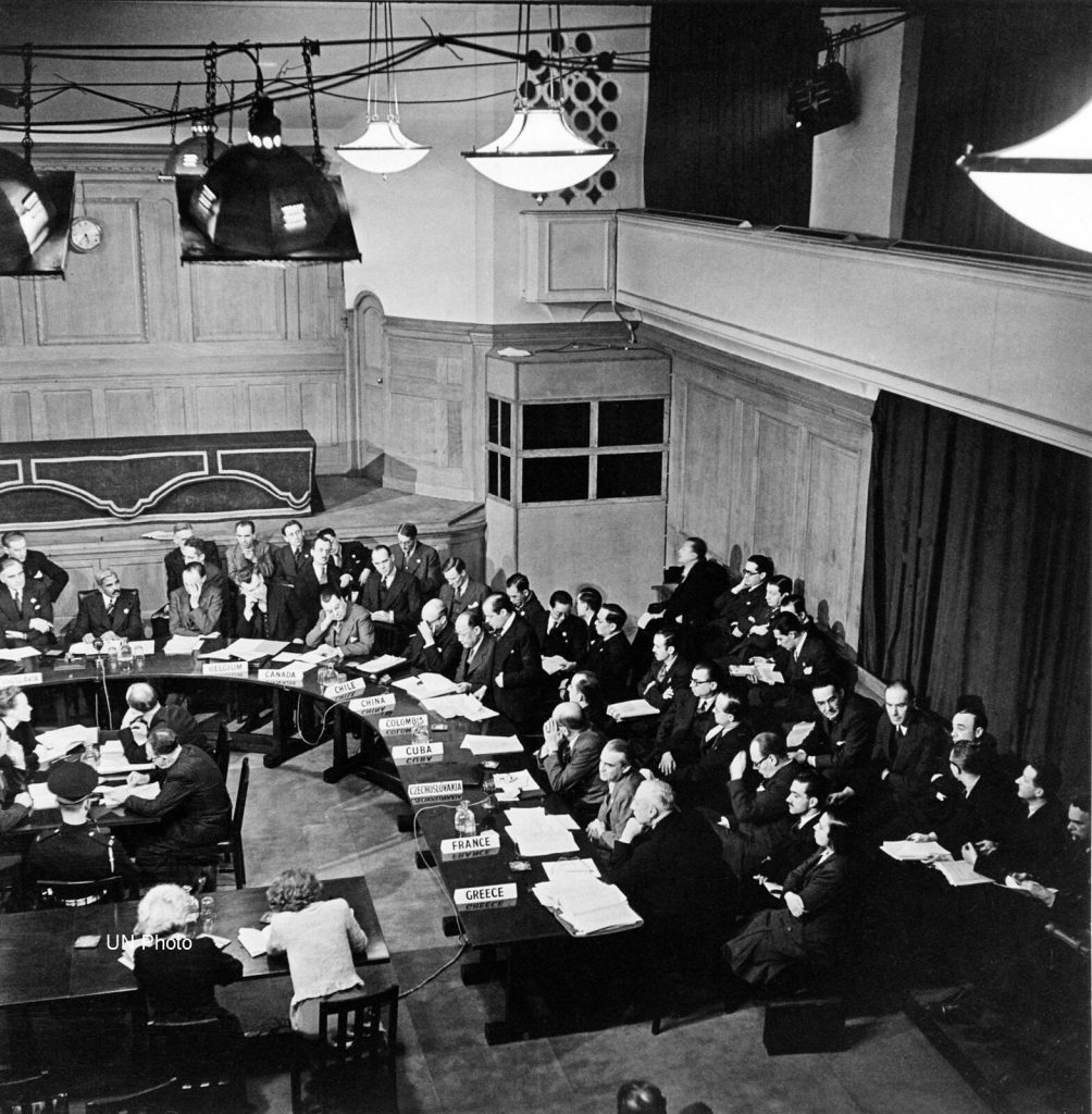 The First Session of the United Nations General Assembly opened on the 10th January 1946 at Central Hall in London.