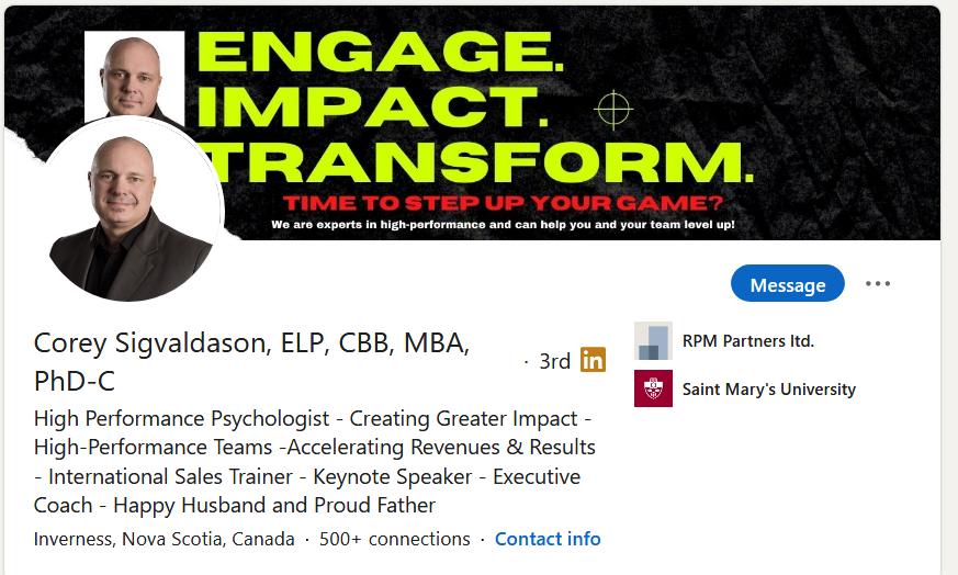 Corey Sigvaldason LinkedIn