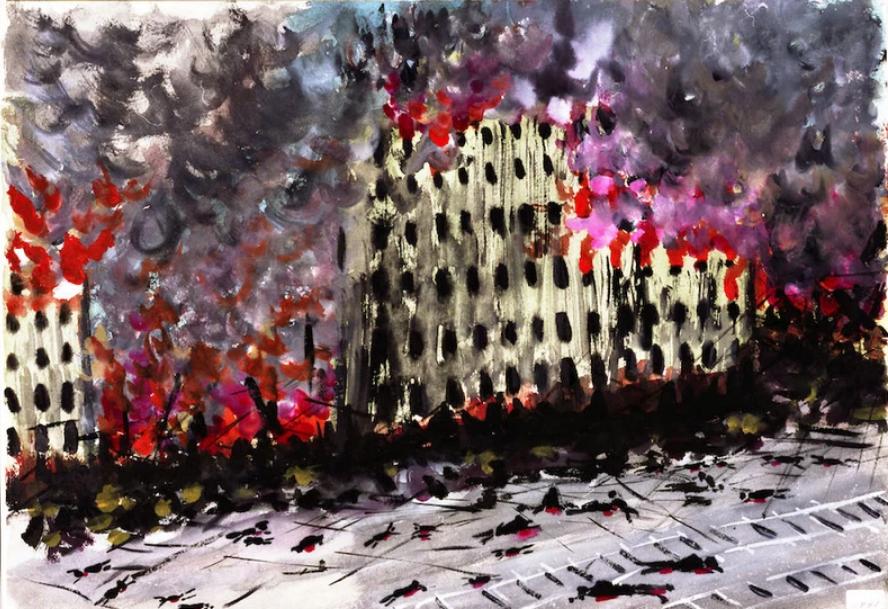 Created by Kobashi Someharu. Fukuya Department Store, burning and burning. Image courtesy of Hiroshima Peace Memorial Museum.