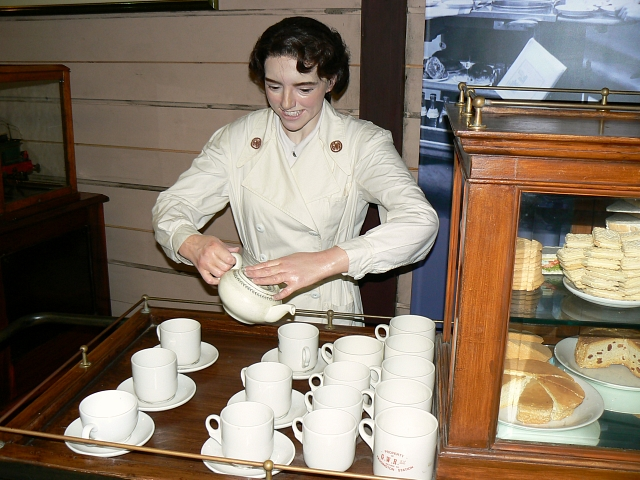 Tea Lady, Steam Museum, Swindon, UK.