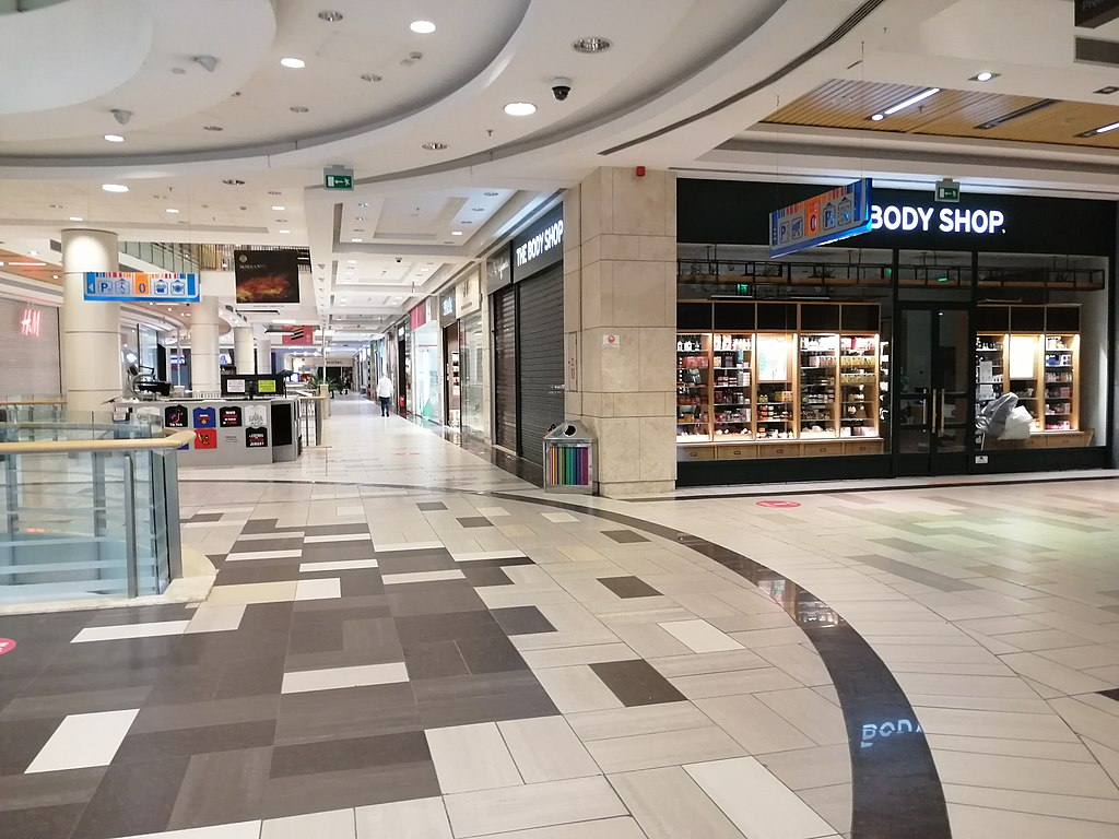 Empty shopping mall during COVID-19.