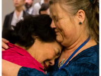 Rebecca Johnson and Hiroshima-survivor Setsuko Thurlow embrace after the adoption of the Ban Treaty, 7 July 2017.