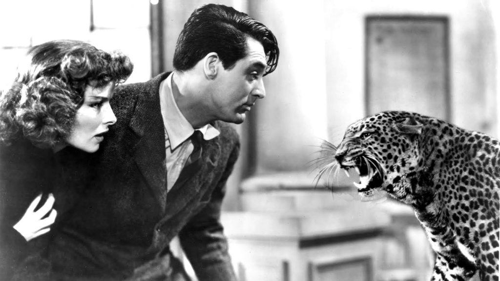 Katharine Hepburn, Cary Grant, Baby the leopard.
