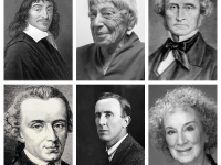(Clockwise from top left): René Descartes, Ursual K. Le Guin, J.S. Mill, Margaret Atwood, J.R.R. Tolkien, Immanuel Kant.