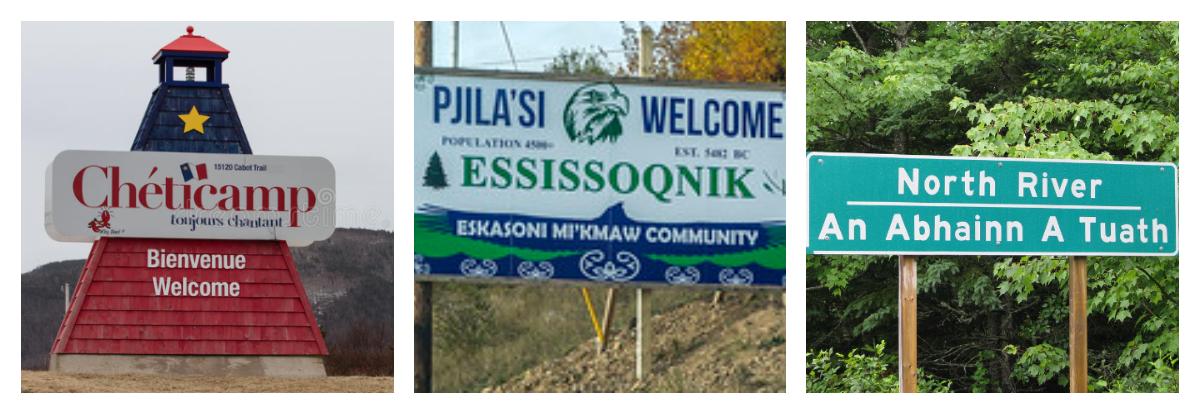 Multi-lingual Cape Breton road signs.
