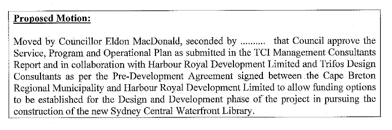 MacDonald motion re: Central Library CBRM 2021.03.09