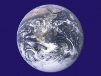 Unofficial Earth Day flag featuring The Blue Marble photo of Earth taken by the Apollo 17's crew. (Dcoetzee, Public domain, via Wikimedia Commons)