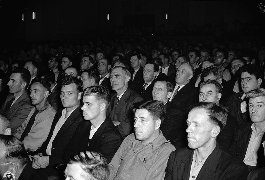 Sydney steel workers assembled at Capital Theatre