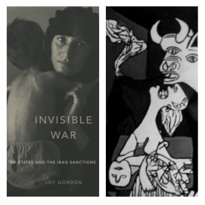 """Left: Cover of """"Invisible War,"""" Right: detail from Guernica"""