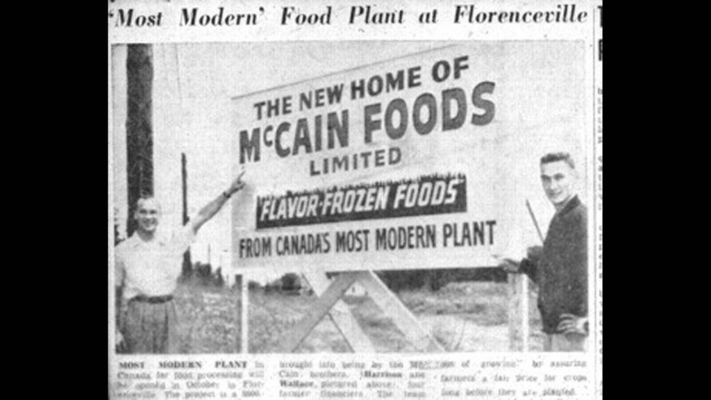 Harrison and Wallace McCain at the site of the Florenceville factory, 1956.
