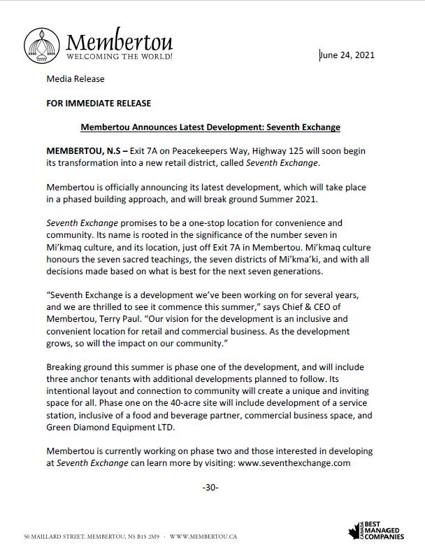 Membertou 7th Exchange press release