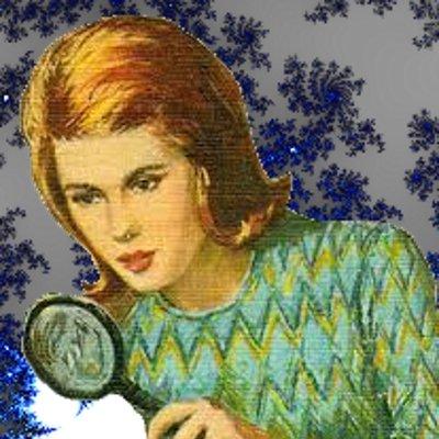Nancy Drew with magnifying glass