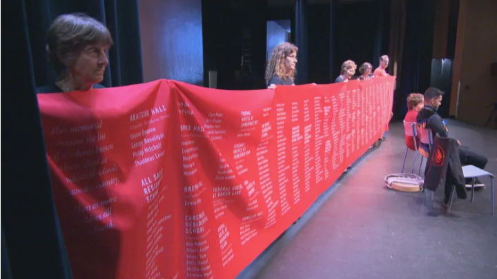 A ceremonial cloth with the names of 2,800 children who died in Canada's residential schools