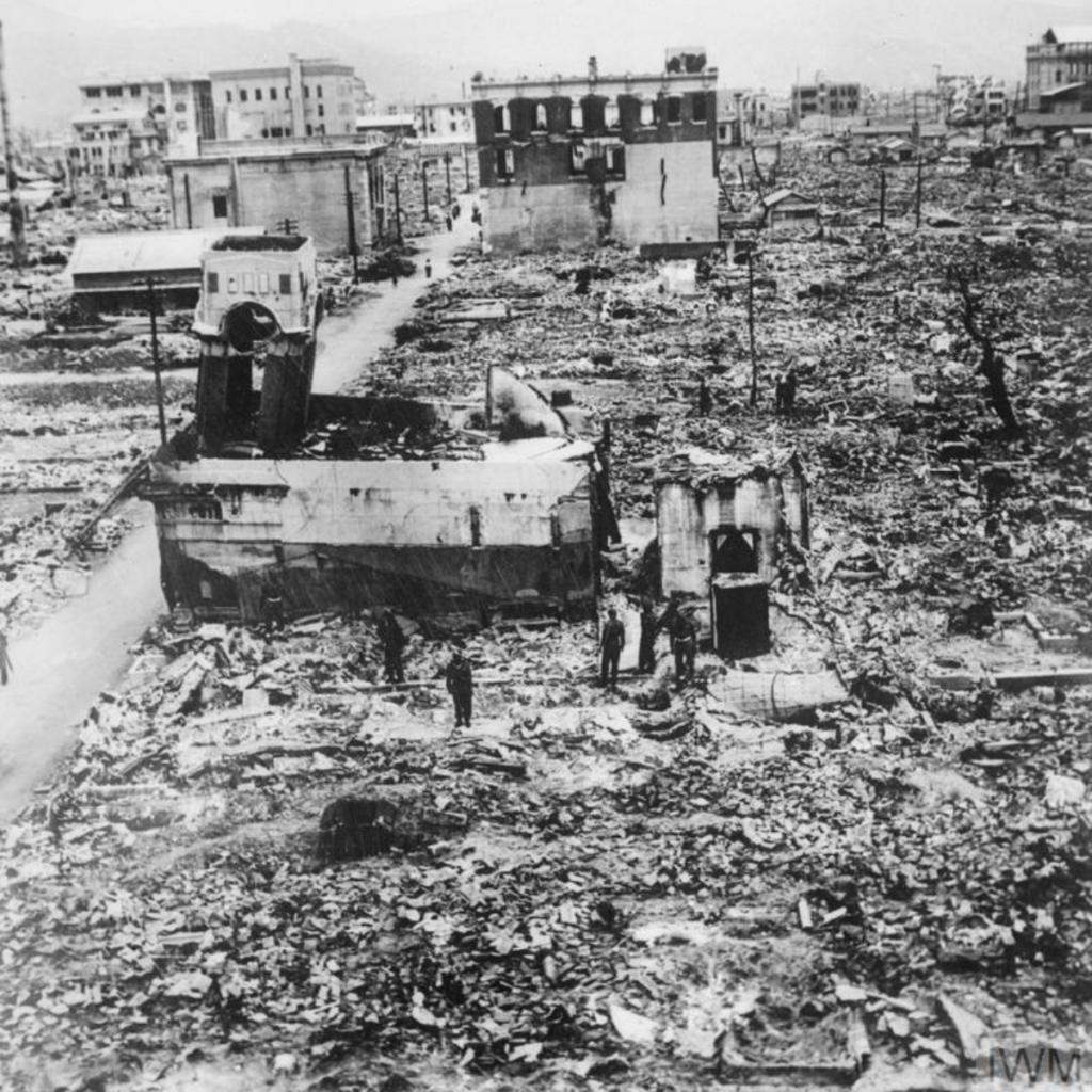 Indian soldiers wander in destroyed Hiroshima, June 1946