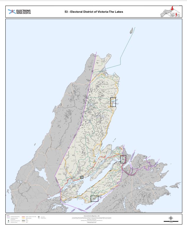 Map of Victoria-The Lakes district, NS