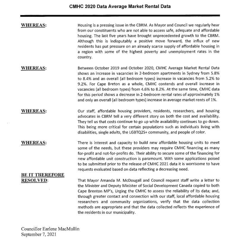 CBRM council resolution re: CMHC stats.