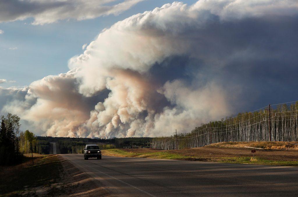 Fire burns in Fort McMurray, Alberta, 2016.