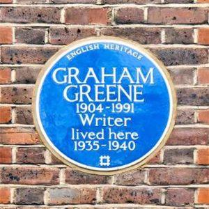 """Graham Greene lived here"" plaque."