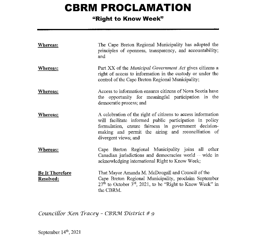 CBRM Right to Know Week proclamation
