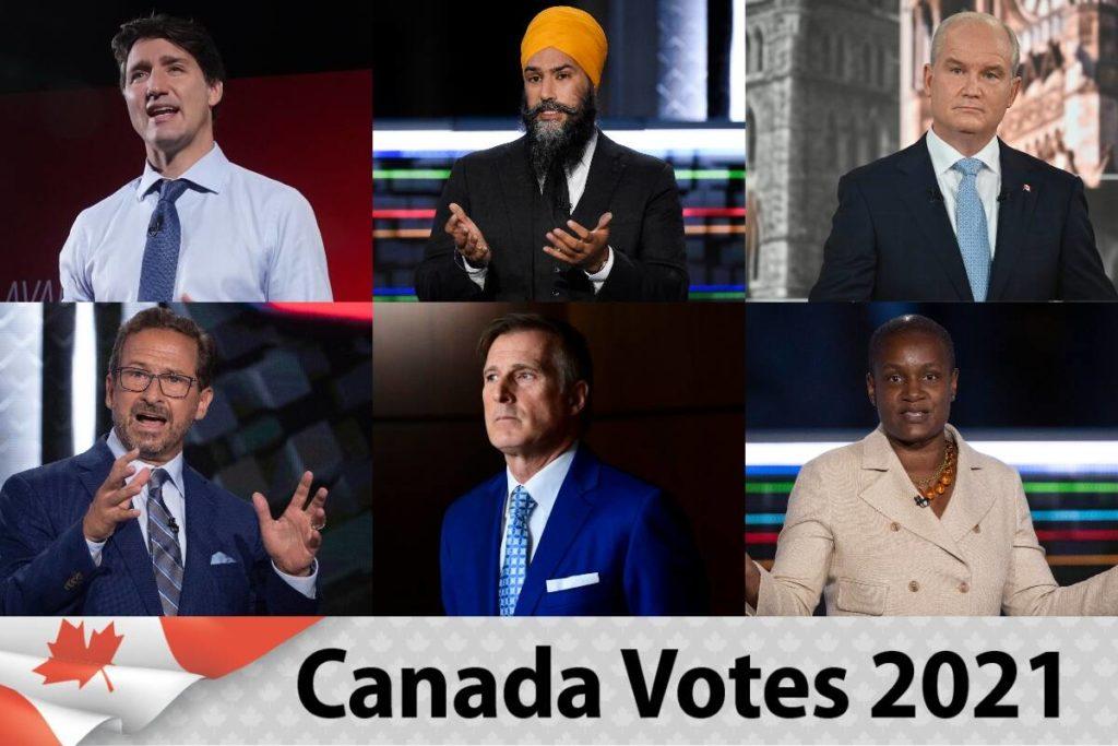 Canadian federal party leaders: Justin Trudeau, Jagmeet Singh, Erin O'Toole, Annamie Paul, Maxime Bernier, Yves-François Blanchet
