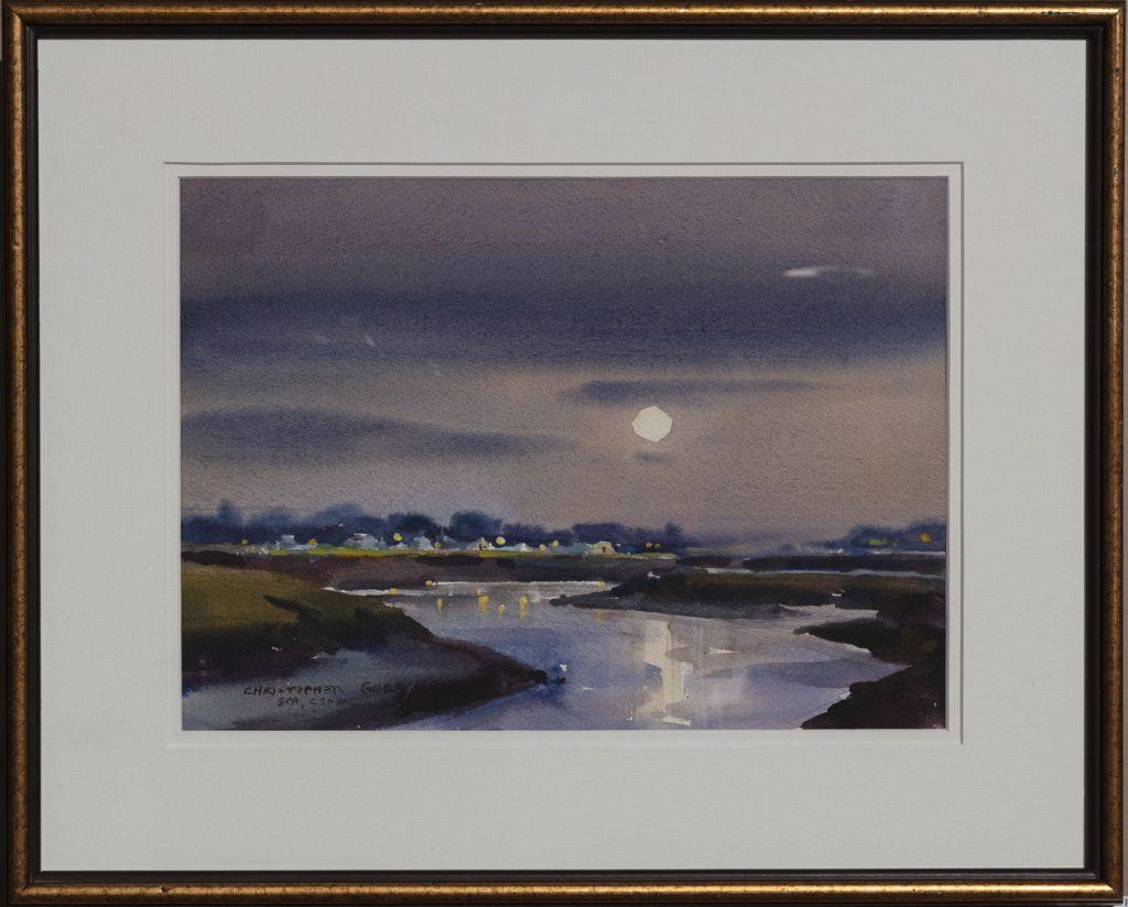 """Moonrise Over Parrsboro"" watercolor by Christopher Gorey"