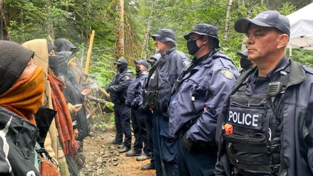 Protestors and RCMP, Fairy Creek, BC