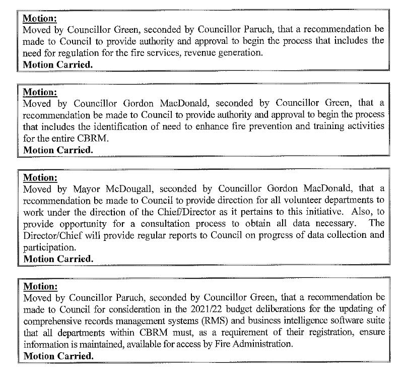 Four CBRM council motions re: Fire Services